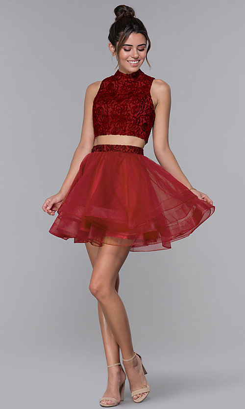 Image of two-piece embroidered-top homecoming short dress. Style: DQ-PL-3042 Detail Image 2