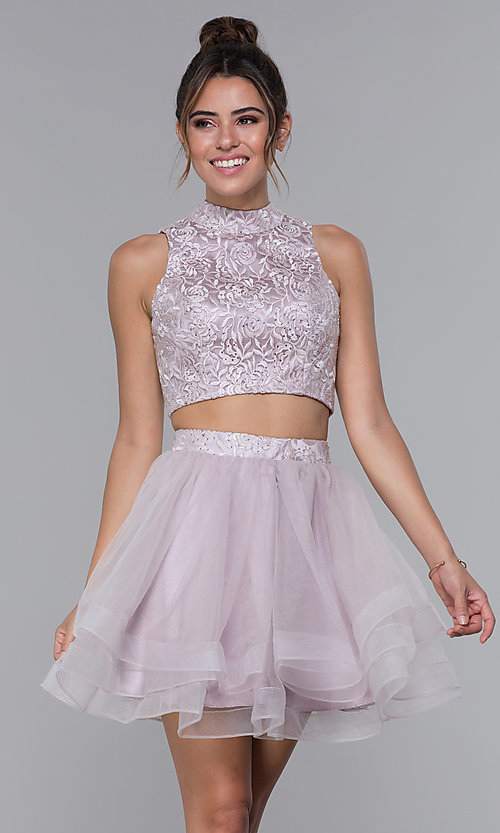 Image of two-piece embroidered-top homecoming short dress. Style: DQ-PL-3042 Detail Image 3