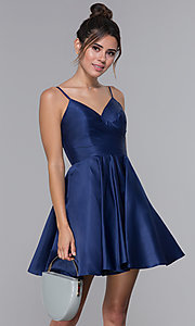 Image of pleated-bodice short satin homecoming party dress. Style: DQ-PL-3059 Front Image