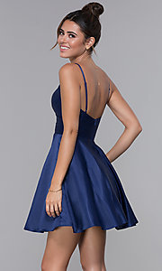 Image of pleated-bodice short satin homecoming party dress. Style: DQ-PL-3059 Back Image