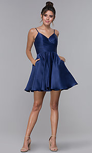 Image of pleated-bodice short satin homecoming party dress. Style: DQ-PL-3059 Detail Image 2