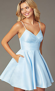 Image of pleated-bodice short satin homecoming party dress. Style: DQ-PL-3059 Detail Image 3