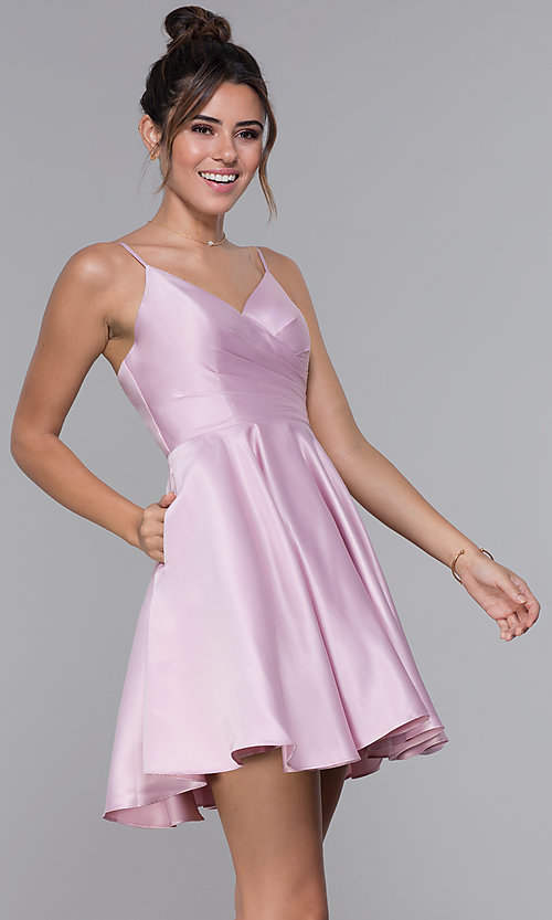 Image of pleated-bodice short satin homecoming party dress. Style: DQ-PL-3059 Detail Image 4