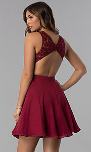 Image of embroidered-bodice chiffon short homecoming dress. Style: DQ-PL-3012 Back Image