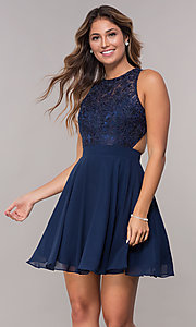 Image of embroidered-bodice chiffon short homecoming dress. Style: DQ-PL-3012 Detail Image 3