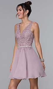 Image of belted lace-bodice short chiffon homecoming dress. Style: DQ-PL-3011 Front Image