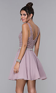 Image of belted lace-bodice short chiffon homecoming dress. Style: DQ-PL-3011 Back Image