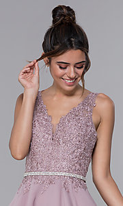Image of short mocha chiffon homecoming dress with lace bodice. Style: DQ-PL-3011 Detail Image 1