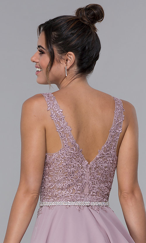 Image of short mocha chiffon homecoming dress with lace bodice. Style: DQ-PL-3011 Detail Image 2