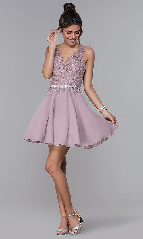 Image of short mocha chiffon homecoming dress with lace bodice. Style: DQ-PL-3011 Detail Image 3