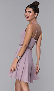 Image of mocha chiffon short wedding-guest party dress. Style: DQ-PL-3013 Back Image