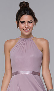 Image of mocha chiffon short wedding-guest party dress. Style: DQ-PL-3013 Detail Image 1