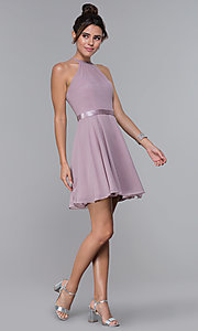 Image of mocha chiffon short wedding-guest party dress. Style: DQ-PL-3013 Detail Image 3