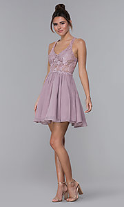 Image of mocha lace-bodice short chiffon homecoming dress. Style: DQ-PL-3044 Detail Image 3