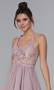 Image of mocha lace-bodice short chiffon homecoming dress. Style: DQ-PL-3044 Detail Image 1