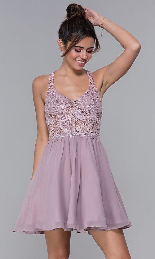 Image of mocha lace-bodice short chiffon homecoming dress. Style: DQ-PL-3044 Front Image