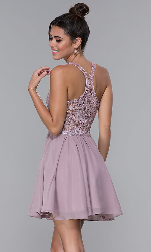 Image of mocha lace-bodice short chiffon homecoming dress. Style: DQ-PL-3044 Back Image