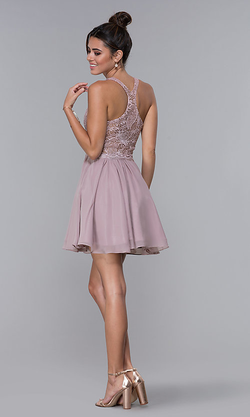 Image of mocha lace-bodice short chiffon homecoming dress. Style: DQ-PL-3044 Detail Image 4