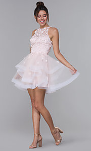 Image of short tiered tulle illusion-bodice homecoming dress. Style: DQ-3003 Detail Image 3