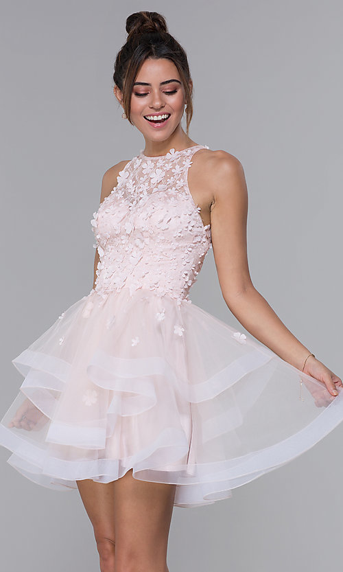 Image of short tiered tulle illusion-bodice homecoming dress. Style: DQ-3003 Front Image