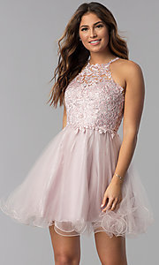 Image of short dusty pink applique-bodice homecoming dress. Style: DQ-3004 Back Image