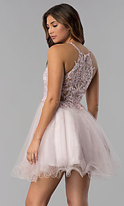 Image of short dusty pink applique-bodice homecoming dress. Style: DQ-3004 Front Image