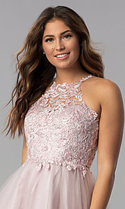 Image of short dusty pink applique-bodice homecoming dress. Style: DQ-3004 Detail Image 2