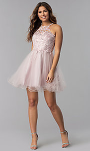 Image of short dusty pink applique-bodice homecoming dress. Style: DQ-3004 Detail Image 6