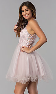 Image of short dusty pink applique-bodice homecoming dress. Style: DQ-3004 Detail Image 3