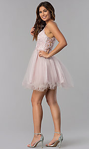 Image of short dusty pink applique-bodice homecoming dress. Style: DQ-3004 Detail Image 5