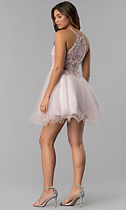 Image of short dusty pink applique-bodice homecoming dress. Style: DQ-3004 Detail Image 4