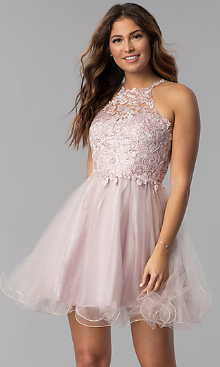fbb0f43e08 Short Dusty Pink Applique-Bodice Homecoming Dress