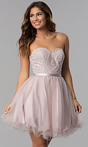 Image of short lace-bodice strapless tulle homecoming dress. Style: DQ-3014 Front Image