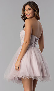 Image of short lace-bodice strapless tulle homecoming dress. Style: DQ-3014 Back Image