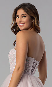 Image of short lace-bodice strapless tulle homecoming dress. Style: DQ-3014 Detail Image 2