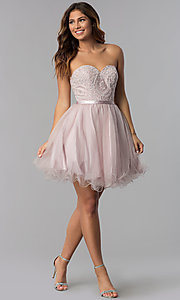 Image of short lace-bodice strapless tulle homecoming dress. Style: DQ-3014 Detail Image 3