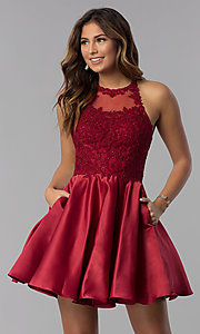 Image of short lace-applique-bodice homecoming party dress. Style: DQ-3028 Detail Image 1