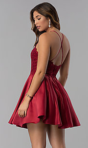 Image of short lace-applique-bodice homecoming party dress. Style: DQ-3028 Detail Image 2