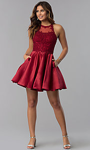 Image of short lace-applique-bodice homecoming party dress. Style: DQ-3028 Detail Image 3