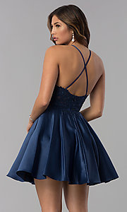 Image of short lace-applique-bodice homecoming party dress. Style: DQ-3028 Back Image