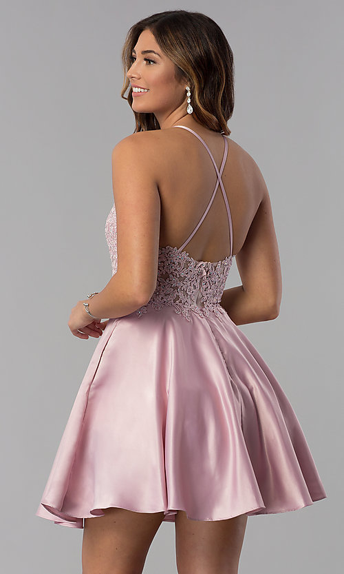 Image of short lace-applique-bodice homecoming party dress. Style: DQ-3028 Detail Image 5