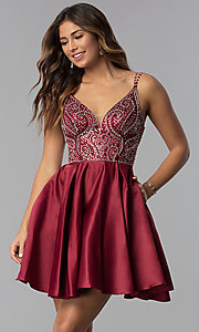 Image of embellished-bodice short homecoming party dress. Style: DQ-3039 Front Image
