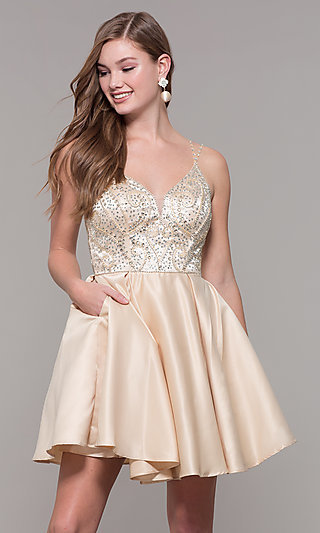 Embellished-Bodice Short Homecoming Party Dress