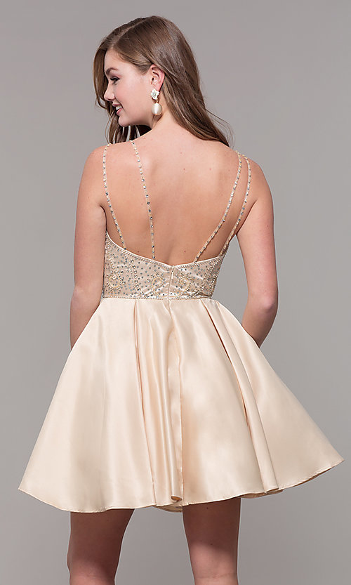 Image of embellished-bodice short homecoming party dress. Style: DQ-3039 Detail Image 5
