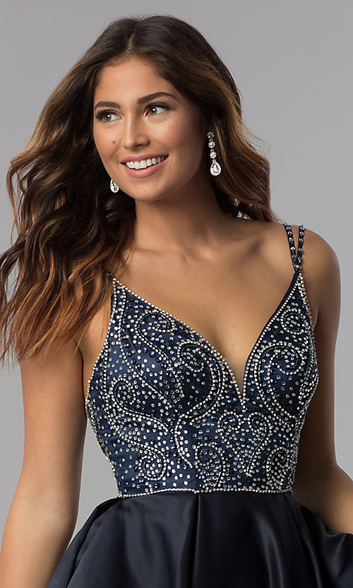 Image of embellished-bodice short homecoming party dress. Style: DQ-3039 Detail Image 3