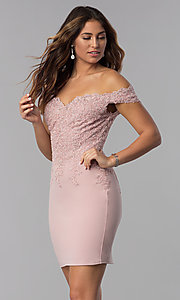 Image of homecoming short off-the-shoulder sweetheart dress. Style: DQ-3032 Front Image
