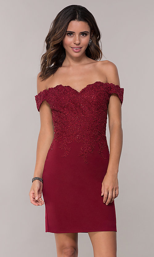 Image of homecoming short off-the-shoulder sweetheart dress. Style: DQ-3032 Detail Image 3