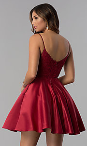 Image of short lace-applique-bodice a-line homecoming dress. Style: DQ-3037 Detail Image 3