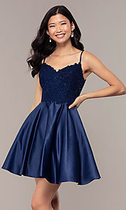 Image of short lace-applique-bodice a-line homecoming dress. Style: DQ-3037 Detail Image 4