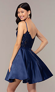 Image of short lace-applique-bodice a-line homecoming dress. Style: DQ-3037 Detail Image 5